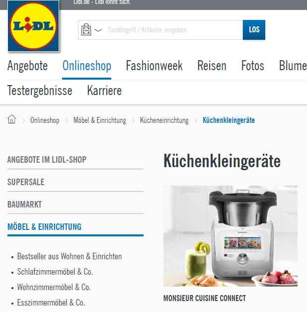 a2c2908dd0e0 Come comprare Monsieur Cuisine Connect online dal sito Lidl tedesco
